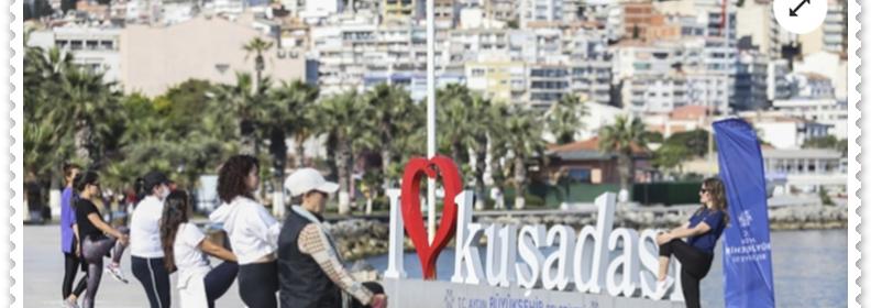 Aydın'da sosyal mesafeli sabah sporu